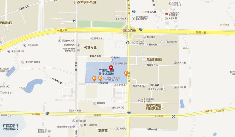 广西电力职业技术学院交通示意图